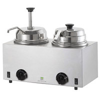 Server Twin FS/FSP 81290 3 Qt. Round Topping Warmer with Pump and Ladle - 120V, 1000W