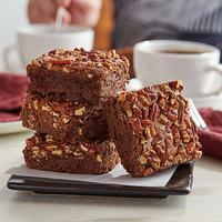 David's Cookies 4 oz. Pre-Cut Pecan Brownie 24-Count Tray - 2/Case