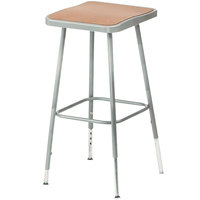 National Public Seating 6324H 25 inch - 33 inch Gray Adjustable Hardboard Square Lab Stool