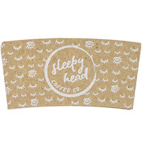 10-24 oz. Natural Kraft Customizable Embossed Coffee Cup Sleeve with Flexo Print Ink   - 2400/Case