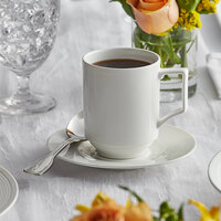 Acopa Liana 9 oz. Bright White Embossed Lines Stackable Porcelain Cup - 36/Case