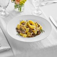 Acopa Liana 12 oz. Bright White Embossed Lines Wide Rim Porcelain Pasta Bowl - 12/Case