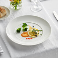 Acopa Liana 10 1/2 inch Bright White Embossed Lines Wide Rim Porcelain Plate - 12/Case