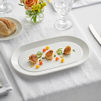 Acopa Liana 12 inch x 7 1/4 inch Bright White Embossed Lines Wide Rim Porcelain Platter - 12/Case