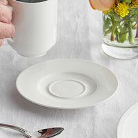 Acopa Liana 6 inch Bright White Embossed Lines Wide Rim Porcelain Saucer - 36/Case