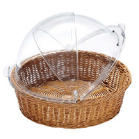 GET CO-2098-CL 16 1/4 inch x 8 inch Designer Polyweave Clear Round Cover for WB-1551 Baskets - 2/Case