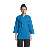 Uncommon Threads Epic 0975 Cobalt Unisex Customizable 3/4 Length Sleeve Chef Coat with Side Vents - L