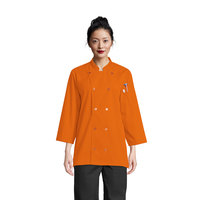 Uncommon Threads Epic 0975 Carrot Unisex Customizable 3/4 Length Sleeve Chef Coat with Side Vents - S