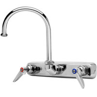 T&S B-1147 Wall Mounted Workboard Faucet with 8 inch Centers - 10 11/16 inch High Swivel Gooseneck with 5 3/4 inch Spread