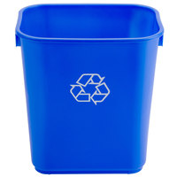 Continental 1358-1 13.6 Qt. / 3 Gallon Blue Rectangular Recycling Wastebasket / Trash Can