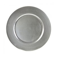 10 Strawberry Street LAS-24 13 inch Lacquer Round Silver Charger Plate