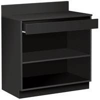 36 inch Black Waitress Station with Drawer and Adjustable Shelf