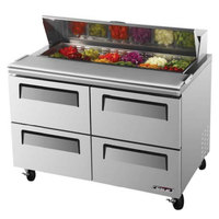 Turbo Air TST-48SD-D4 48 inch Super Deluxe Stainless Steel Refrigerated Salad / Sandwich Prep Table - 4 Drawers