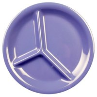 Thunder Group CR710BU 10 1/4 inch Purple 3-Compartment Melamine Plate - 12/Pack