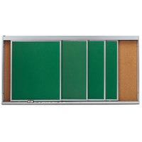 Aarco HSU48-4C 48 inch x 96 inch Stationary Cork Board With 4 Horizontal Sliding Chalk Boards
