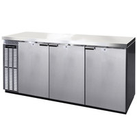 Continental Refrigerator BB79NSSPT 79 inch Stainless Steel Solid Door Pass-Through Back Bar Refrigerator