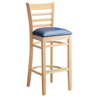 Lancaster Table & Seating Natural Ladder Back Bar Height Chair with 2 1/2 inch Navy Padded Seat