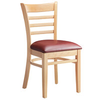 Lancaster Table & Seating Natural Finish Wooden Ladder Back Chair with 2 1/2 inch Burgundy Padded Seat