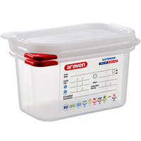 Araven 03021 1/9 Size Translucent Polypropylene Food Pan with Airtight Lid - 4 inch Deep