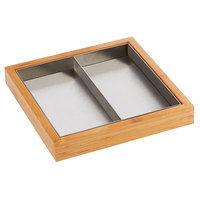 Cal-Mil 22052-60 Bamboo Appetizer Tray with Stainless Steel Insert