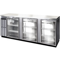 Continental Refrigerator BB90NSSGD 90 inch Stainless Steel Glass Door Back Bar Refrigerator