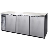 Continental Refrigerator BB90SNSS 90 inch Stainless Steel Shallow-Depth Solid Door Back Bar Refrigerator