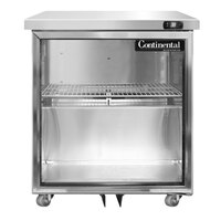 Continental Refrigerator SW27NGD-U 27 inch Low Profile Front Breathing Undercounter Refrigerator with Glass Door