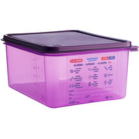 Araven 61391 1/2 Size Purple Allergen-Free Polypropylene Food Pan with Airtight Lid - 6 inch Deep
