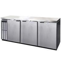 Continental Refrigerator BB90NSSPT 90 inch Stainless Steel Solid Door Pass-Through Back Bar Refrigerator