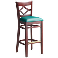 Lancaster Table & Seating Mahogany Diamond Back Bar Height Chair with 2 1/2 inch Green Padded Seat