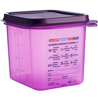 Araven 61390 1/6 Size Purple Allergen-Free Polypropylene Food Pan with Airtight Lid - 6 inch Deep