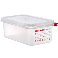 Araven 03027 1/4 Size Translucent Polypropylene Food Pan with Airtight Lid - 4 inch Deep