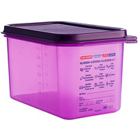 Araven 61392 1/4 Size Purple Allergen-Free Polypropylene Food Pan with Airtight Lid - 6 inch Deep