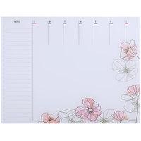 Quartet GDP2217F 22 inch x 17 inch Floral Frameless Glass Dry Erase Desktop Weekly Planner