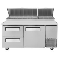 Turbo Air TPR-67SD-D2 67 inch Pizza Prep Table with 1 Door and 2 Drawers