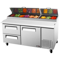 Turbo Air TPR-67SD-D2 67 inch Pizza Prep Table with One Door and Two Drawers