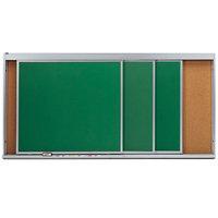 Aarco HSU48-3C 48 inch x 96 inch Stationary Cork Board With 3 Horizontal Sliding Chalk Boards