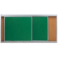Aarco HSU48-2C 48 inch x 96 inch Stationary Cork Board With 2 Horizontal Sliding Chalk Boards