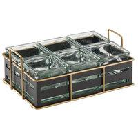 Cal-Mil 22092-90 Empire Six 4 inch x 4 inch Black Metal Jar Display - 12 1/2 inch x 8 1/2 inch x 5 1/4 inch