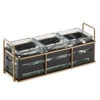 Cal-Mil 22091-90 Empire Three 4 inch x 4 inch Black Metal Jar Display - 12 1/2 inch x 4 1/2 inch x 5 1/4 inch