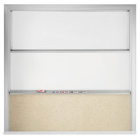 Aarco FFVSU96-2 10' x 8' Stationary Marker Board with 2 Vertical Sliding Marker Boards and Kick Panel