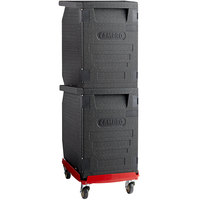 Cambro Cam GoBox® Insulated EPP Pan Carrier Kit with Two Front Load Carriers and Hot Red Compact Camdolly®