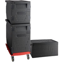 Cambro Cam GoBox® Insulated EPP Pan Carrier Kit with Two Front Load Carriers, One Top Load Carrier and Hot Red Compact Camdolly®