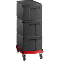 Cambro Cam GoBox® Insulated EPP Pan Carrier Kit with Three Top Loaders and Hot Red Compact Camdolly®