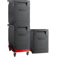 Cambro Cam GoBox® Insulated EPP Pan Carrier Kit with Three Front Loaders and Hot Red Compact Camdolly®