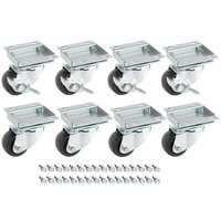 Avantco 178A2PCKIT8 2 1/2 inch ADA Height Swivel Plate Casters with Mounting Hardware - 8/Set
