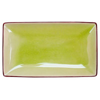 CAC 666-33-G Japanese Style 5 inch x 3 1/2 inch Rectangular China Plate - Black Non-Glare Glaze / Golden Green - 36/Case