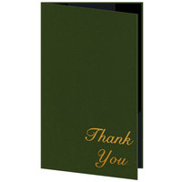 H. Risch 5000H-ST 5 inch x 9 inch Customizable Green Thank You Double Panel Check Presenter with Interior Strips