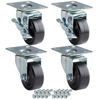 Avantco 178A2PCKIT4 2 1/2 inch ADA Height Swivel Plate Casters with Mounting Hardware - 4/Set