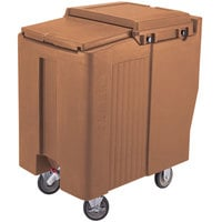Cambro ICS125T157 Coffee Beige Sliding Lid Portable Ice Bin - 125 lb. Capacity Tall Model